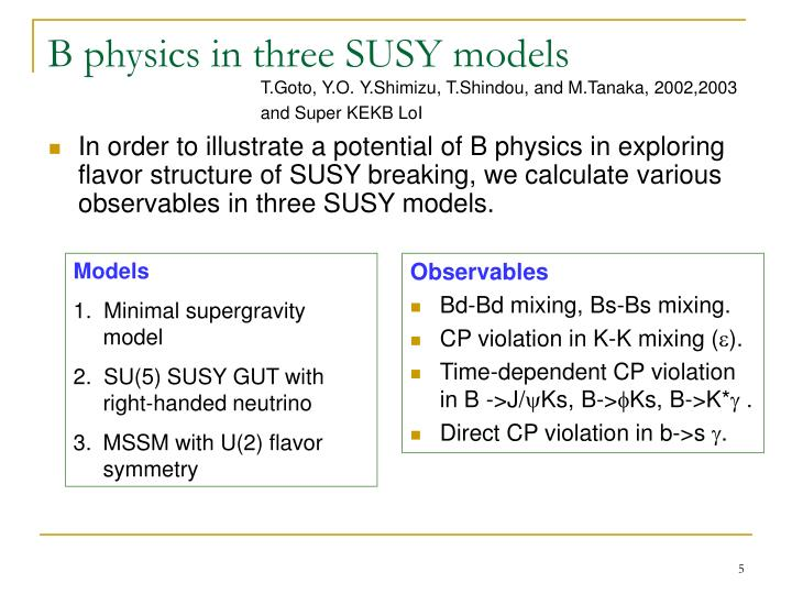 B physics in three SUSY models