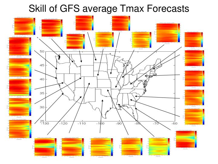 Skill of GFS average Tmax Forecasts
