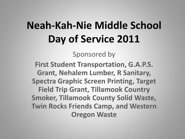 Neah kah nie middle school day of service 2011