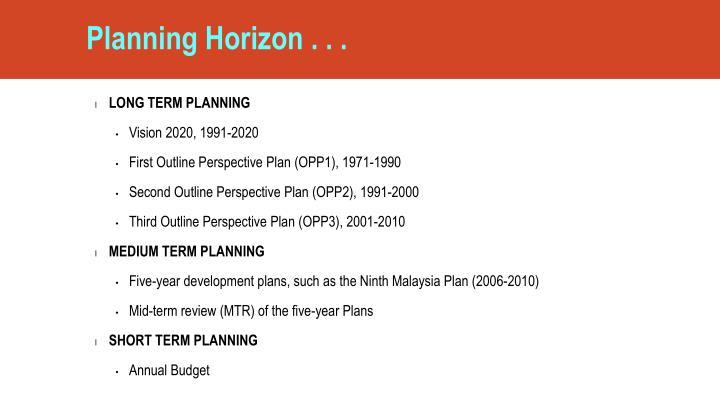 Planning Horizon . . .