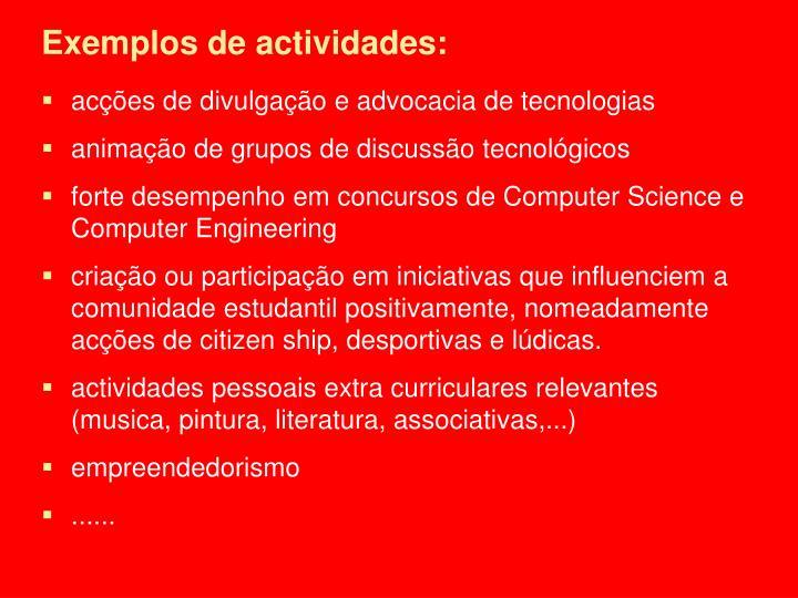 Exemplos de actividades: