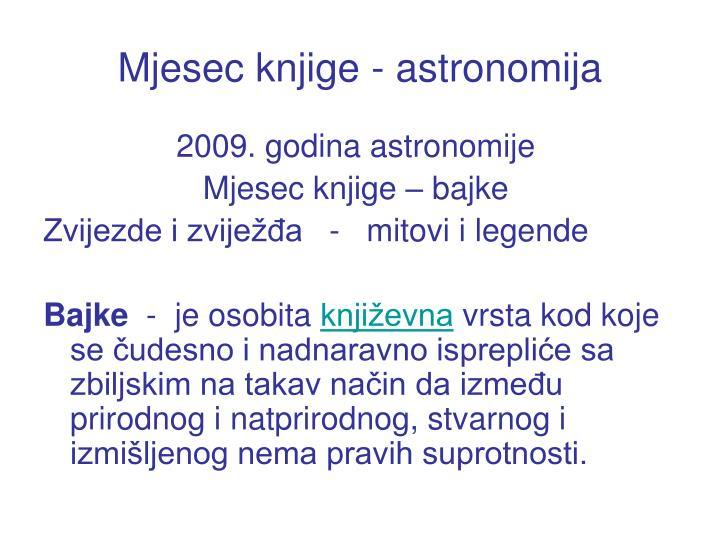 Mjesec knjige - astronomija
