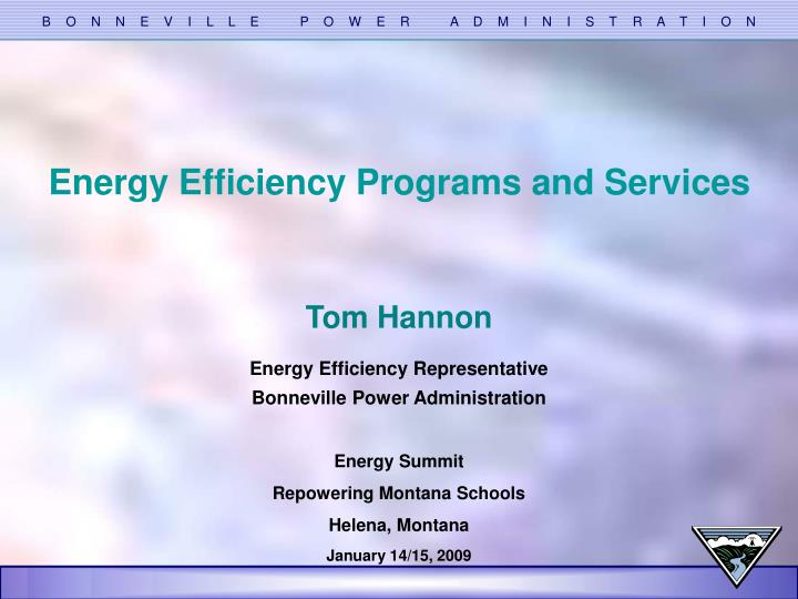Energy Efficiency Programs and Services