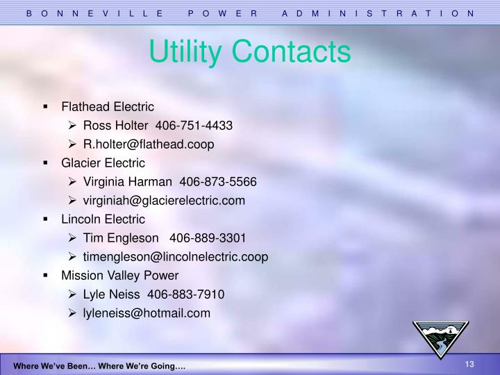 Utility Contacts