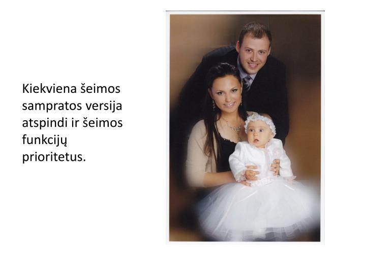 Kiekviena šeimos sampratos versija atspindi ir šeimos funkcijų prioritetus.
