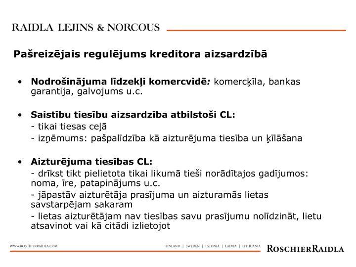 Pašreizējais regulējums kreditora aizsardzībā