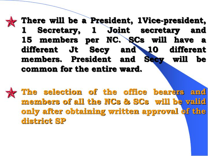 There will be a President, 1Vice-president, 1 Secretary, 1 Joint secretary and