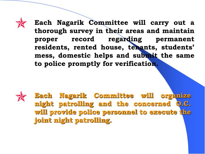 Each Nagarik Committee will carry out a thorough survey in their areas and maintain proper record regarding permanent residents, rented house, tenants, students' mess, domestic helps and submit the same to police promptly for verification.