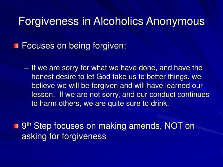 Forgiveness in Alcoholics Anonymous