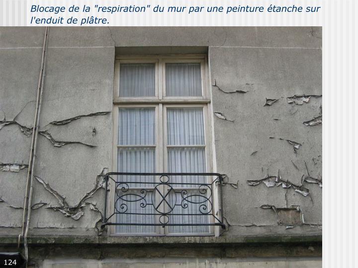 """Blocage de la """"respiration"""" du mur par une peinture étanche sur l'enduit de plâtre."""