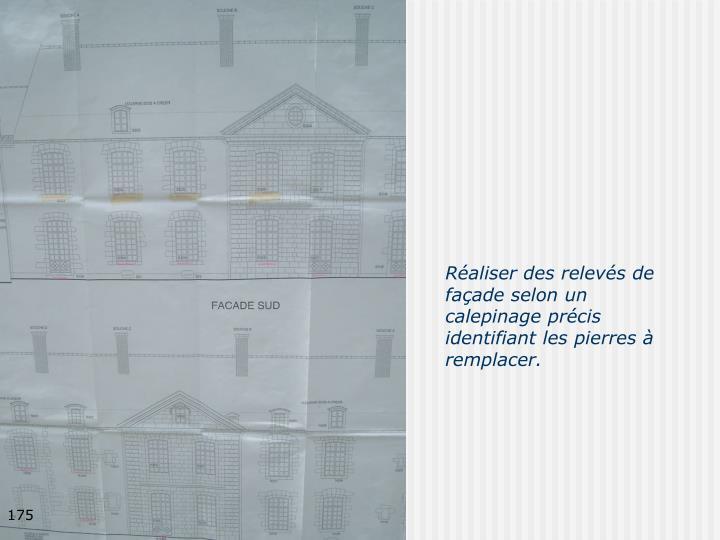 Réaliser des relevés de façade selon un calepinage précis identifiant les pierres à remplacer.