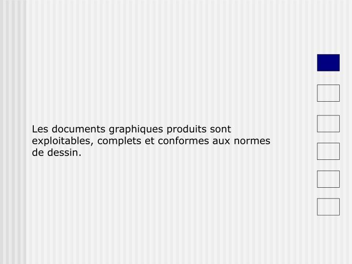 Les documents graphiques produits sont exploitables, complets et conformes aux normes de dessin.