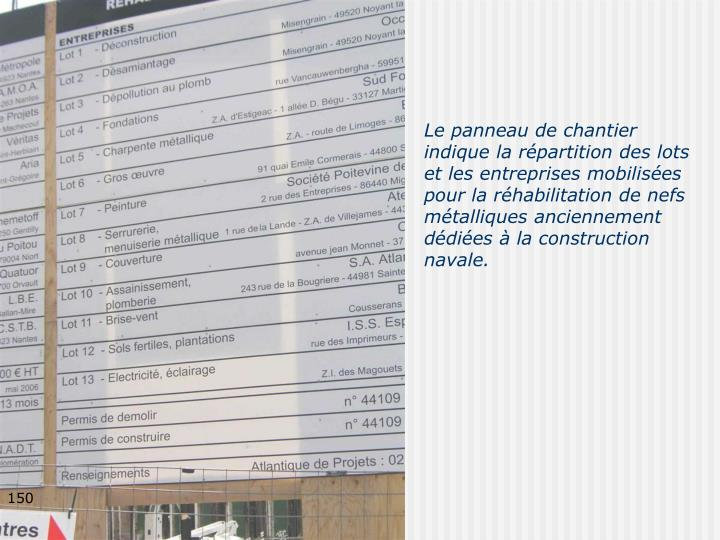 Le panneau de chantier indique la répartition des lots et les entreprises mobilisées pour la réhabilitation de nefs métalliques anciennement dédiées à la construction navale.