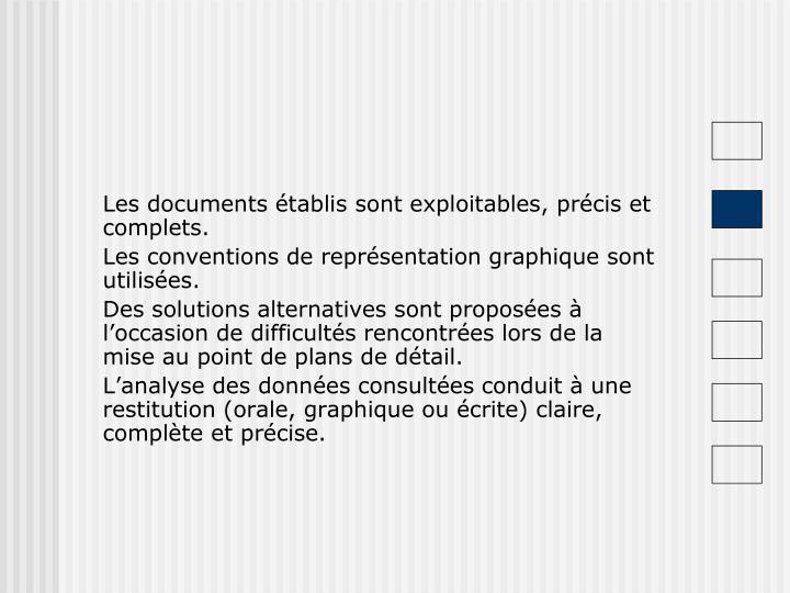 Les documents établis sont exploitables, précis et complets.