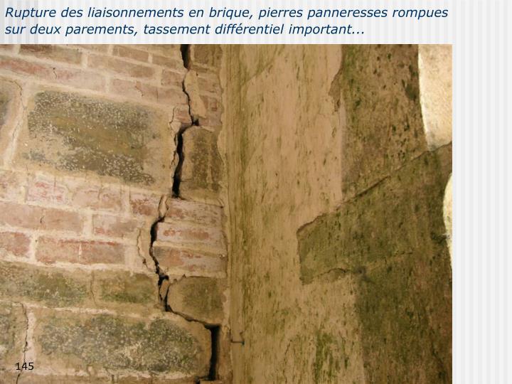 Rupture des liaisonnements en brique, pierres panneresses rompues