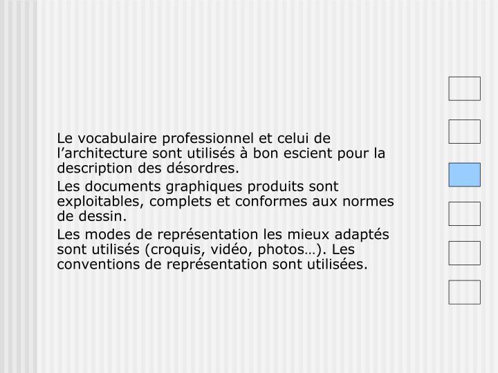 Le vocabulaire professionnel et celui de l'architecture sont utilisés à bon escient pour la description des désordres.
