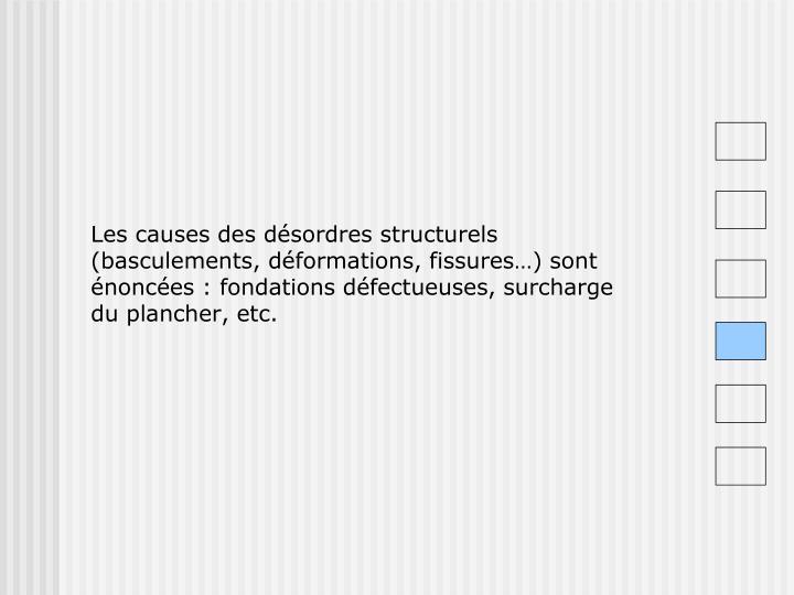Les causes des désordres structurels (basculements, déformations, fissures…) sont énoncées : fondations défectueuses, surcharge du plancher, etc.
