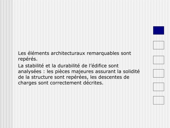 Les éléments architecturaux remarquables sont repérés.