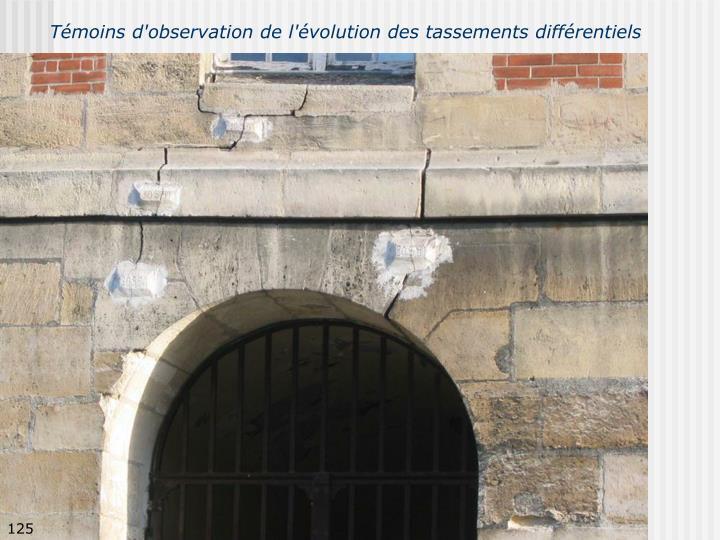 Témoins d'observation de l'évolution des tassements différentiels