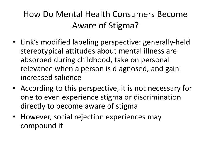 How Do Mental Health Consumers Become Aware of Stigma?