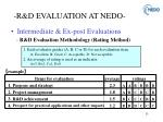 r d evaluation at nedo4