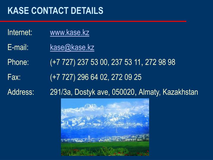 KASE CONTACT DETAILS