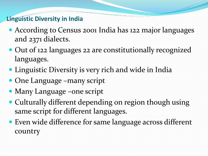 Linguistic Diversity in India
