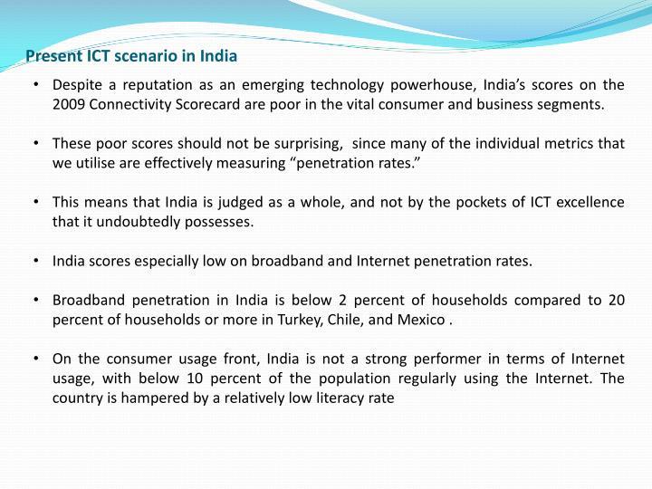 Present ICT scenario in India