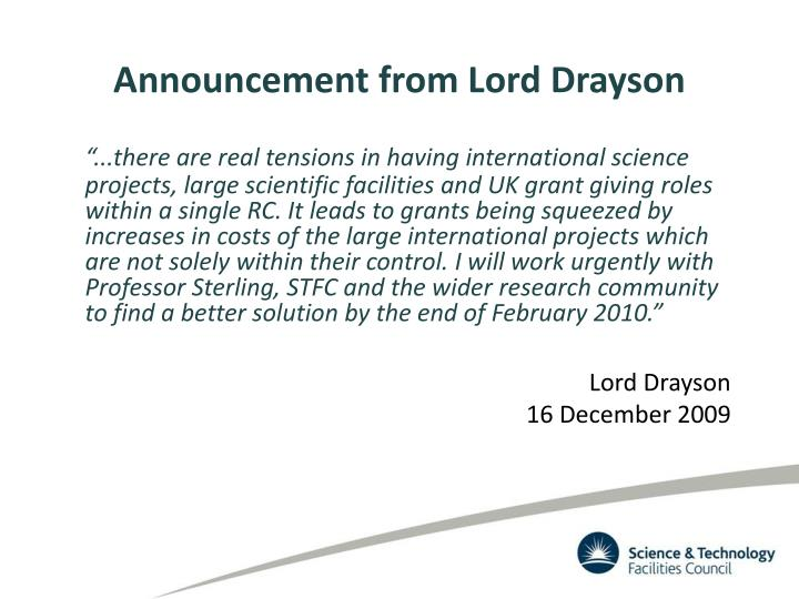 Announcement from Lord Drayson