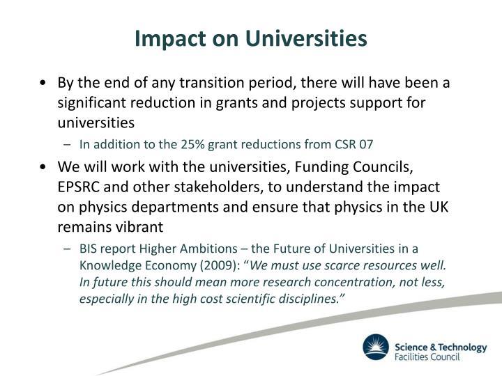Impact on Universities