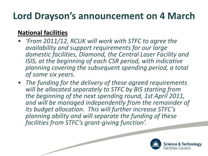Lord Drayson's announcement on 4 March