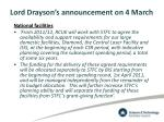 lord drayson s announcement on 4 march1