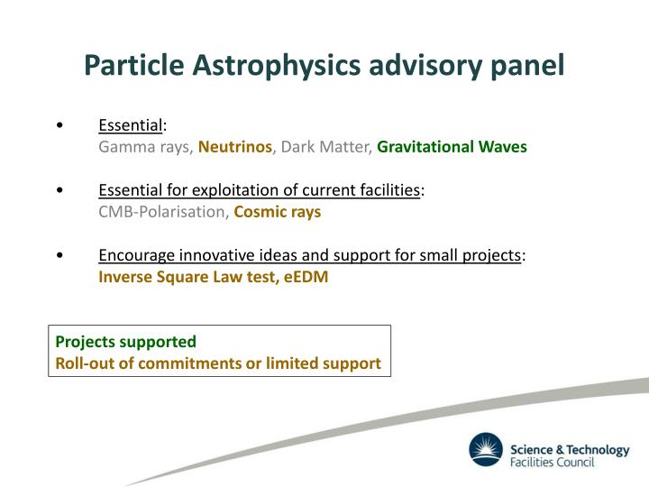 Particle Astrophysics advisory panel