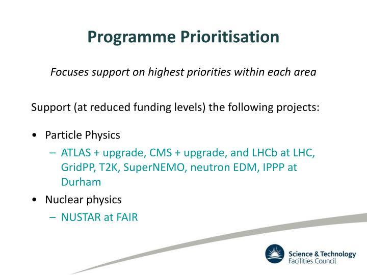 Programme Prioritisation