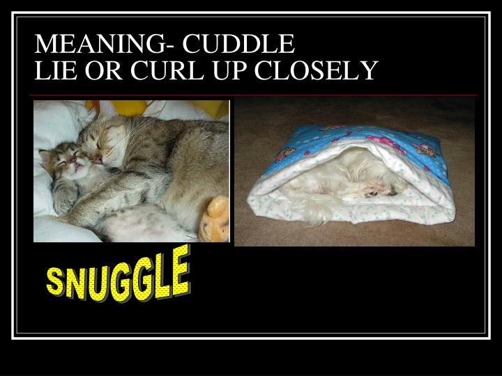 MEANING- CUDDLE