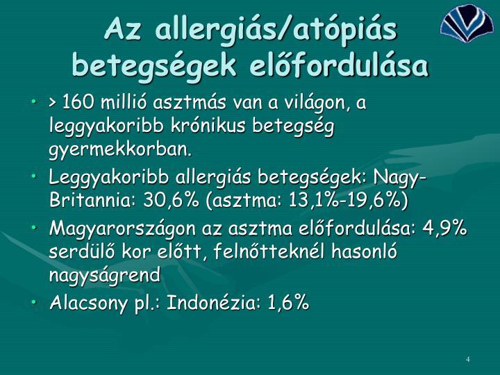 Az allergiás/atópiás betegségek előfordulása