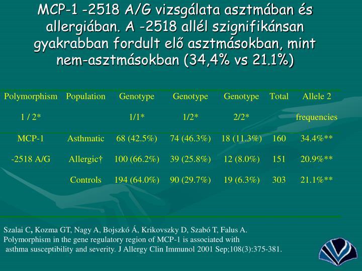 MCP-1 -2518 A/G vizsgálata asztmában és allergiában. A -2518 allél szignifikánsan gyakrabban fordult elő asztmásokban, mint nem-asztmásokban (34,4% vs 21.1%)