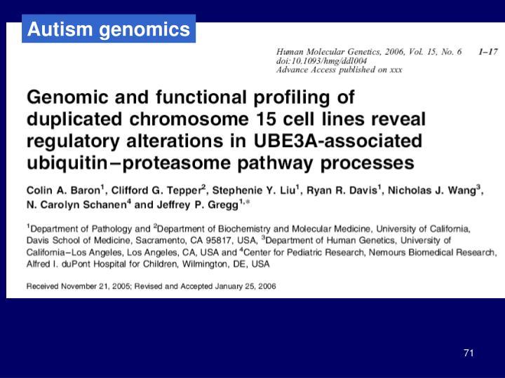 Autism genomics