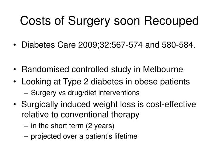 Costs of Surgery soon Recouped
