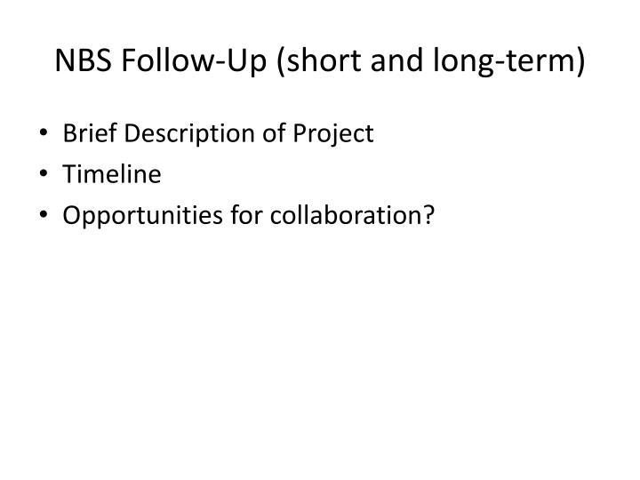 NBS Follow-Up (short and long-term)