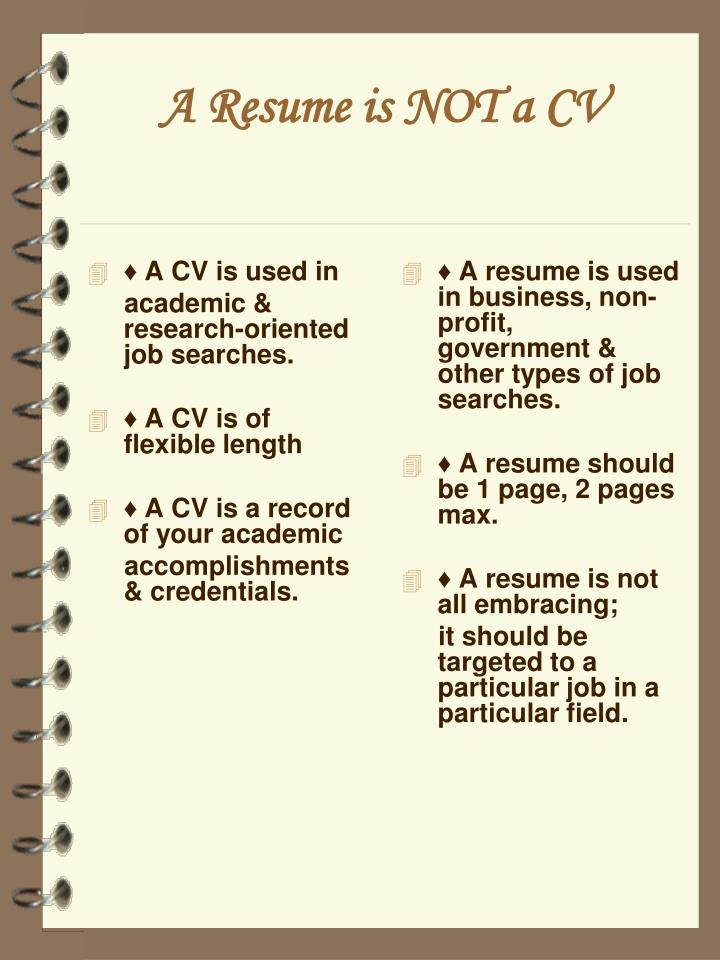 ♦ A CV is used in