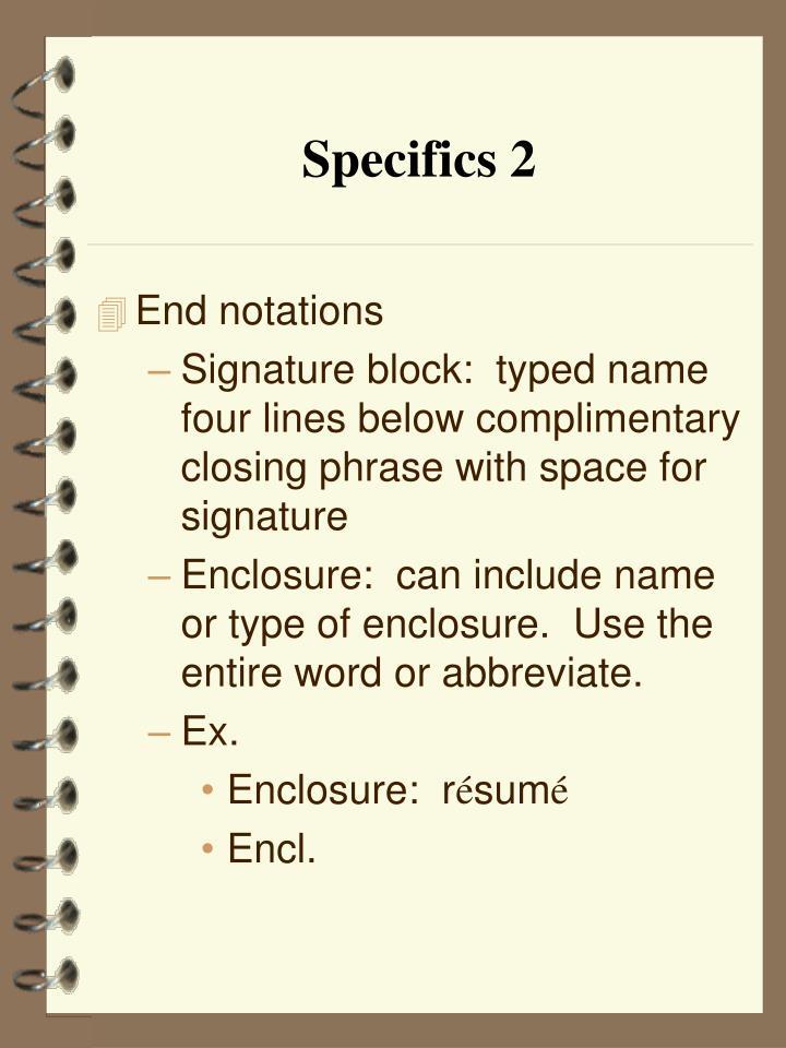 Specifics 2