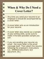 when why do i need a cover letter