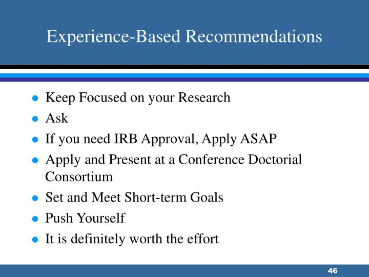 Experience-Based Recommendations