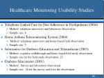 healthcare monitoring usability studies