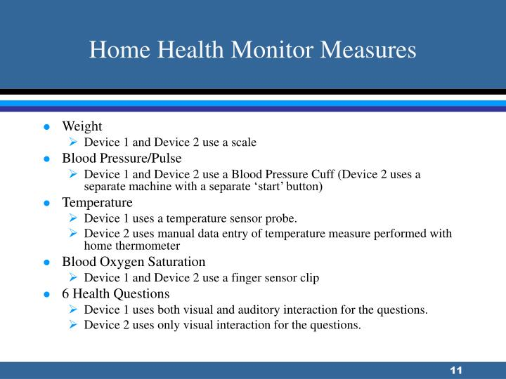 Home Health Monitor Measures