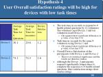 hypothesis 4 user overall satisfaction ratings will be high for devices with low task times