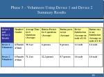 phase 3 volunteers using device 1 and device 2 summary results