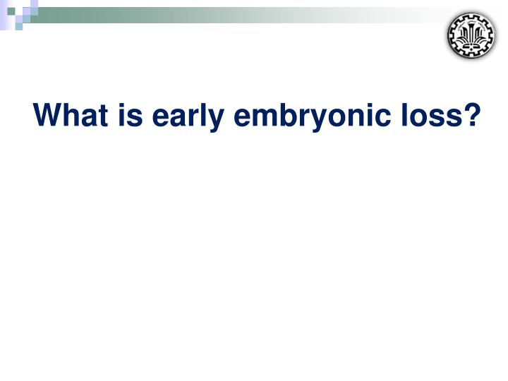 What is early embryonic loss?
