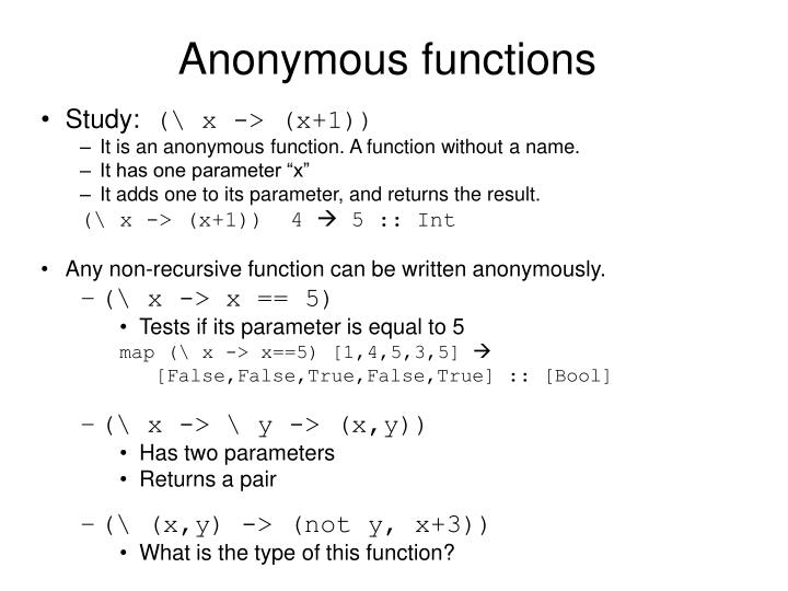 Anonymous functions